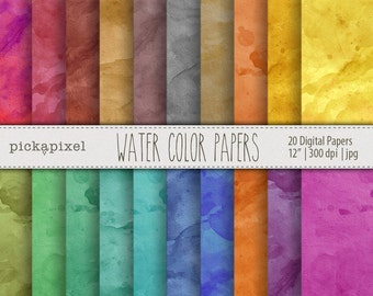 Water Color Digital Papers, Textured Papers , Scrapbooking , Blogs , Cards , Backgrounds