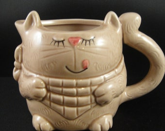Cat Creamer Eyes Closed Licking Lips Ceramic Enesco 1982