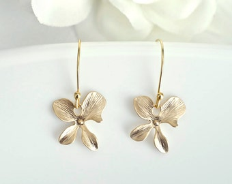 Gold/Silver  Plated Orchid Earrings - Bridesmaid Earrings - Bridal Earrings -  Gold/Silver Orchid Flower Earrings