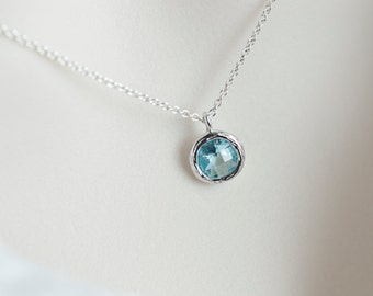 Aquamarine Necklace, Aquamarine Pendant, Aquamarine Round Drop Glass, Bridesmaids Gift, Dainty Everyday Necklace, Sterling Silver Necklace
