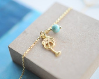 Palm Tree Necklace, Gold Necklace, Silver Necklace, Turquoise, Coconut Tree, Best Price, Summer Necklace, Beach Jewelry, Layered Necklace