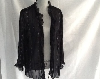 Handmade Sheer black jacket with embroidery and sequins medium size