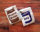 Peanut Butter and Jelly Onesies Set (Peanut Butter Brown and Grape Jelly Purple) 6-9M Baby Bodysuit -- Twin Set