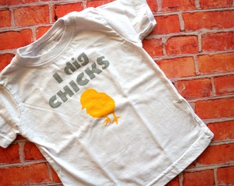 I Dig Chicks Toddler Tee (Deep Gray and Sunny Yellow) - 12M Boys Tshirt