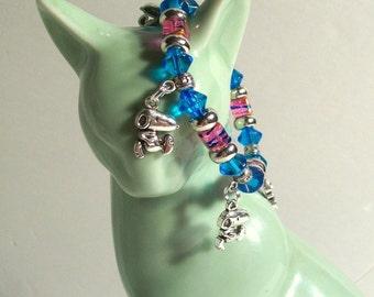 Snoopy Charm Bracelet, Pink & Blue, Elastic Charm Bracelet, Snoopy Charm, Sizes 5' to 8' in Length
