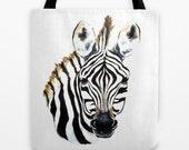 Art Tote Bag - Zebra Wildlife Watercolor Painting - Shopping Bag