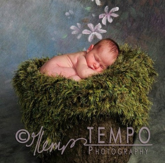 Grass Green Fur Baby Blankets Photo Props Hand Knit