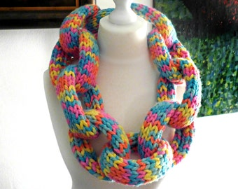 Super Chunky Rainbow Chain Link Scarf OUTRAGEOUS and FUN!