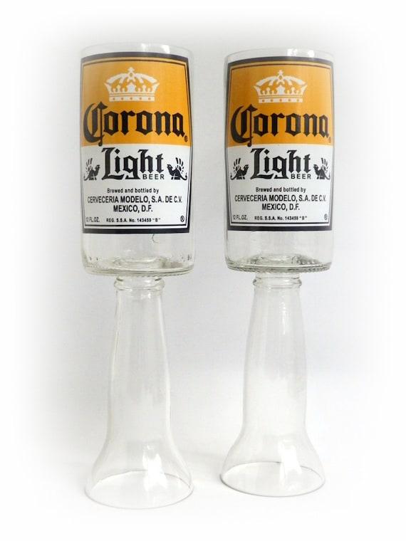 Beer Bottle Wine Glasses Corona Light Goblets Candle Holders Set Of 2