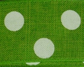 "1.5"" Lime Green White Dot Denim Ribbon, 5 Yards or 10 Yard Lengths Available, Deco Mesh Supplies"