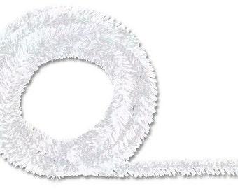 Iridescent White Metallic Tinsel Roping XG447850, Mesh Supplies, Poly Mesh Supplies, Mesh Ribbon (25 FEET)