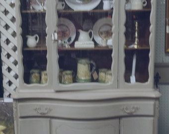 SALE: Vintage French china cabinet /bookcase, grey, taupe, chalk paint