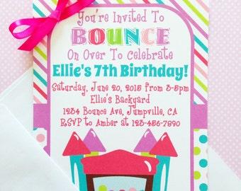 12 bounce house birthday invitations with envelopes, bounce party invites, rainbow polka dots birthday invitation, 5x7 size
