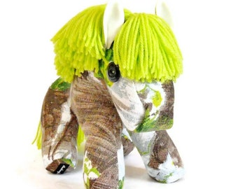 Retro Pony a horse crafted from 50s 60s Vintage Barkcloth fabric in Lime, green and grey brown