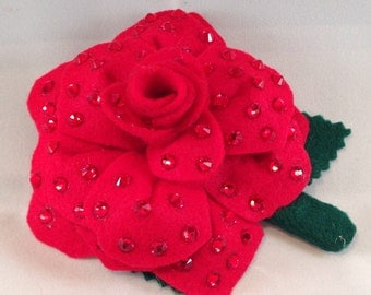 Red Handcrafted Rhinestoned Hair Flower