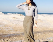 Gray Maxi skirt in Wool by Ellen Tracy Xs