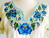 Mexican folk blouse handstitched 70s