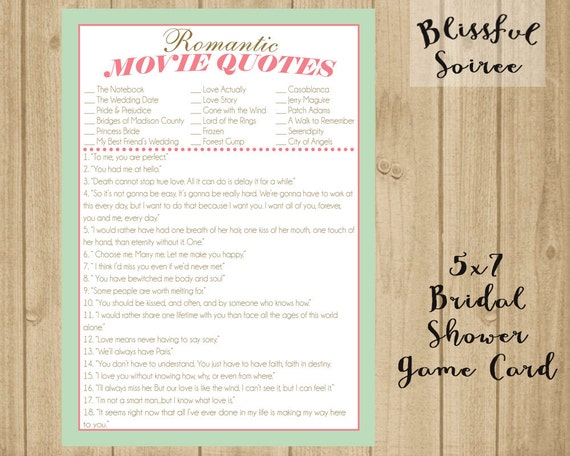 Bridal Shower Game / Name That Movie Love Quote / Romantic