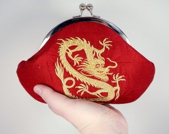 Personalized bag, wristlet, Chinese dragon clutch, bright red clutch purse with embroidered gold dragon, silk clutch