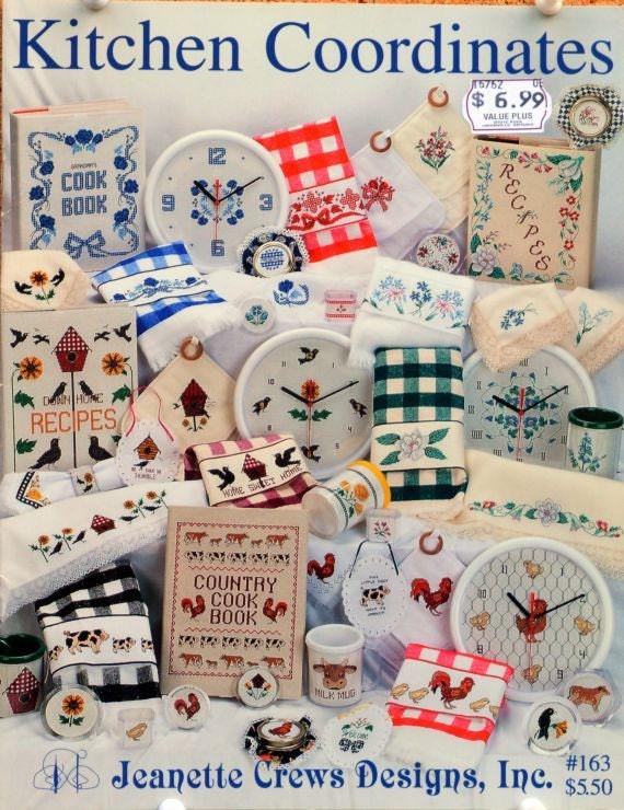 Jeanette crews designs kitchen coordinates booklet 163 for Cross stitch kitchen designs