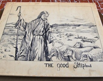 Vintage drawing The Good Shepard by Earnest Snell Houston, Texas outsider artist.