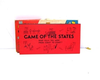 1960s Game of the States Board Game, Mid Century Board Game