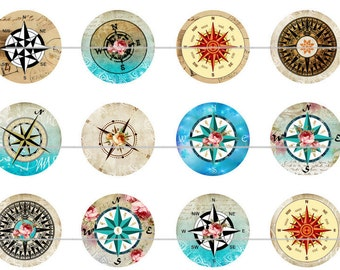 """Compass Magnets, Compass Pins, Compass Badges, Colorful Compass Magnets, 1"""" Flat, Hollow Bk, Cabochons, 12 ct"""