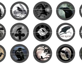 "Gothic Raven, Gothic Crow, Gothic Wedding, Gothic Magnets, 1"" Inch  Cabochons, Scrapbook, Pins, Flat Back Buttons or Magnets 12 Ct."