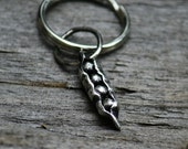 Peas in a Pod Key Ring Charm,Family , Fine Silver Pea Pod, Mom, Best Friend, For him, Dad, Rustic Black Peapod pendant