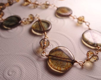 Czech Picasso Coin Sage Green Brown Gold Wire Wrapped Necklace