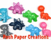 8 Dino crayons - Assorted colors -in cello bag tied with ribbon