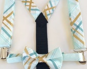 SALE bow tie and suspenders for toddler boy - light blue and gold metallic bowtie plaid brambleberry ridge