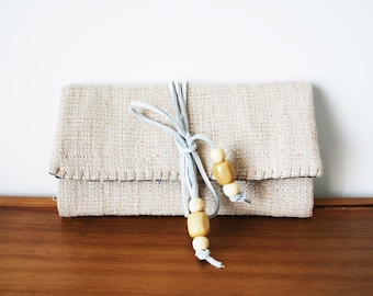 Beige Cloth Trifold Clutch Wallet with White Leather Tie v. 2