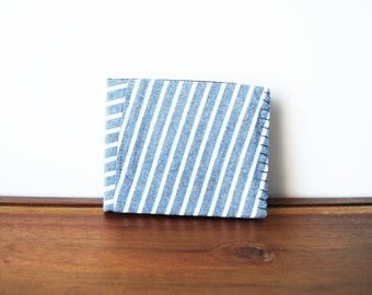 Upcycled Grey and White Striped Cloth Mens Bifold Wallet with Brown and Black Interior