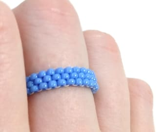 Stacking Blue Beaded Ring with Custom Size