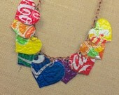 Rainbow 9 Heart Necklace. Recycled Soda Can Art.  DOUBLE-sided and Embossed.  Coca Cola