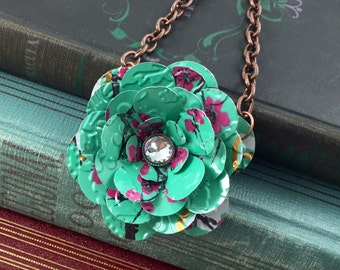 Bohemian Tea Rose Necklace. Recycled Soda Can Art. AZ Tea