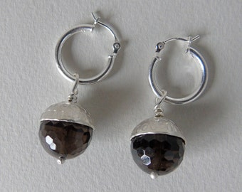Silver and smoky quartz acorn earrings