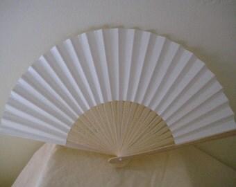 Regency/Victorian Style Fan. Cream Plain Paper. Hand Paint/Bridal Favour.