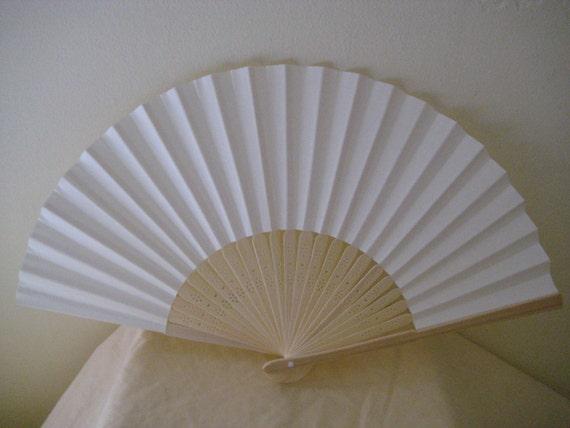 Regency/Victorian Style Fan. Ivory Plain Paper. Hand Paint/Bridal Favour.