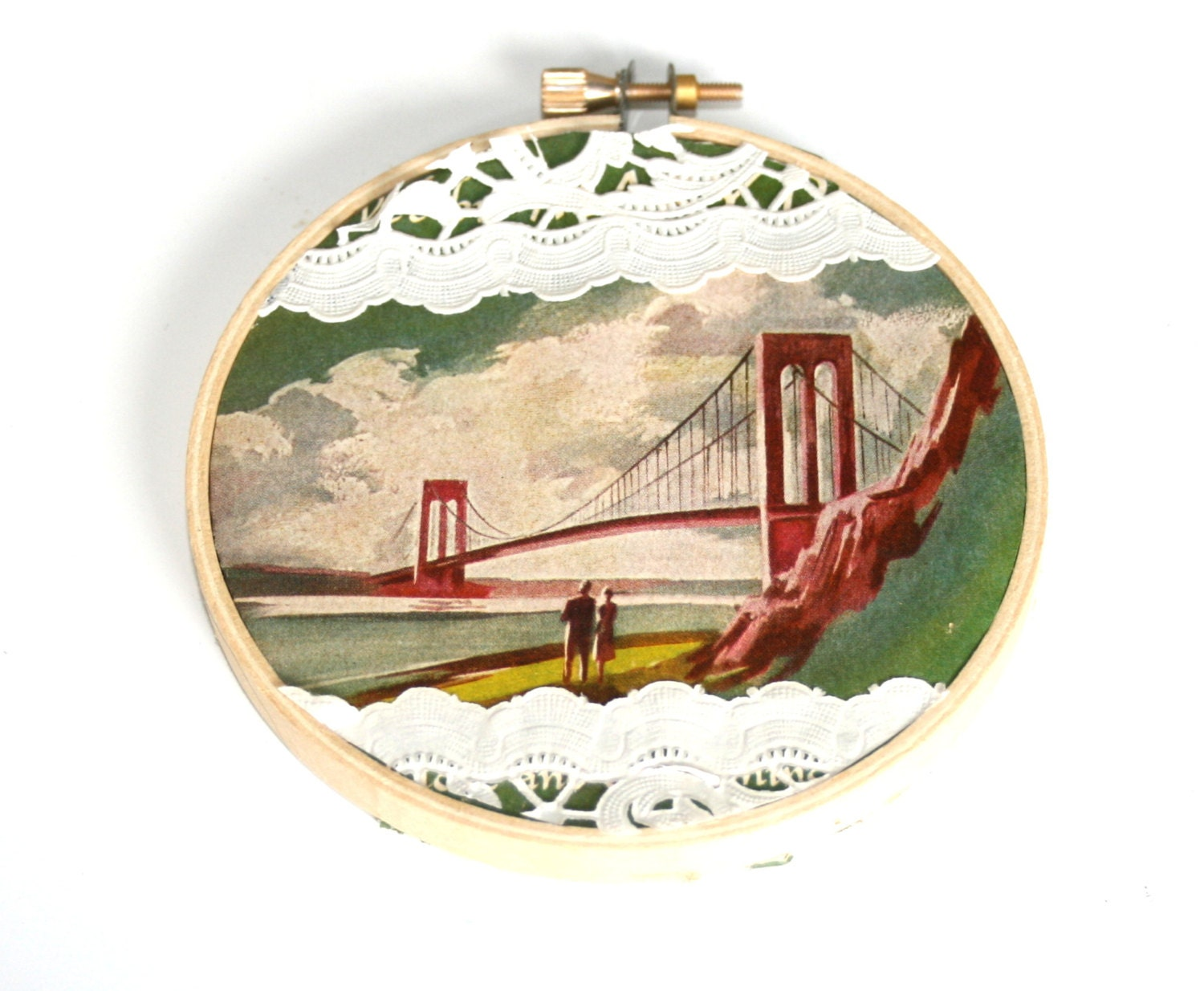 Vintage embroidery hoop art made with upcycled by