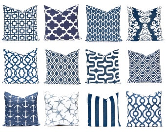 Navy and White Pillow Covers - Navy Blue Pillow Covers - Blue Pillows - Navy Blue Cushions - Throw Pillow Cover - Nautical Decor