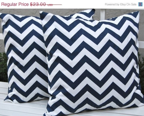 sale euro sham chevron pillows navy blue by festivehomedecor. Black Bedroom Furniture Sets. Home Design Ideas