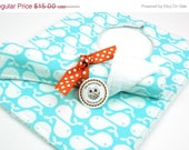 ON SALE Bib and Burp Cloth Set- Girl White Whales on Turquoise Light Blue
