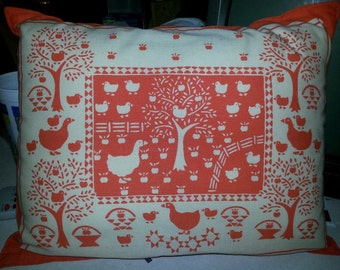 Orange Pillow With Geese