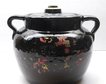 Vintage  Black Bean Pot