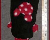 Dog sweater Teacup XXS  handmade fleece black with Red & White dots Mickey Mouse silhouette