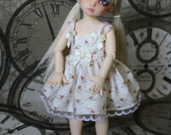 Littlefee -YOSD similar sized dolls dress in ivory with tiny roses