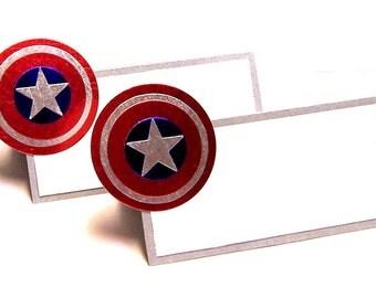 Set of 10 Superhero Shield Place Cards