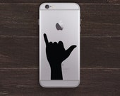 Shaka Sign, Hang Loose Hand Silhouette Vinyl iPhone Decal BAS-0253